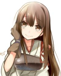akagi_(kantai_collection) brown_eyes brown_hair gloves highres japanese_clothes kantai_collection long_hair muneate smile temari_(deae)