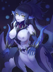 1girl artist_request black_sclera blue_hair breasts earrings female mermaid mershark_(monster_girl_encyclopedia) monster_girl monster_girl_encyclopedia navel nipples open_mouth pussy smile solo teeth underwater yellow_eyes