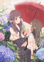 2girls bangs black_legwear black_skirt blush brown_eyes brown_hair closed_mouth eyebrows_visible_through_hair flower green_eyes holding holding_umbrella hydrangea kneehighs light_smile long_hair looking_at_another low_twintails millcutto multiple_girls original pleated_skirt rain school_uniform serafuku shared_umbrella short_sleeves skirt smile squatting twintails umbrella