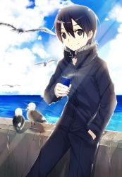 1boy bird black_eyes black_hair canned_coffee fur_trim jacket kirito mizuna_mizuna seagull short_hair smile sword_art_online