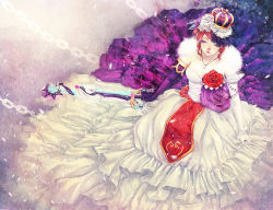 1girl abigail_diaz armlet blue_eyes breasts chains cleavage colored_eyelashes crown dress elbow_gloves eyelashes flower from_above gloves hair_flower hair_ornament jewelry kairi_(kingdom_hearts) keyblade kingdom_hearts lipstick long_dress makeup mismatched_gloves pendant purple_gloves red_hair red_lipstick ring rose solo weapon white_gloves white_rose