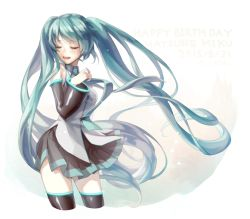 1girl 2015 aqua_hair character_name dated detached_sleeves eyes_closed happy_birthday hatsune_miku long_hair more_(vitalia) necktie skirt solo thighhighs twintails twitter_username very_long_hair vocaloid