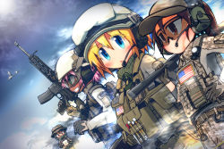 4girls american_flag assault_rifle bag baseball_cap battlefield_(series) battlefield_4 black_hair blonde_hair blue_eyes brown_eyes brown_hair camouflage camouflage_pants emblem epiphone_(flet06) glasses gloves goggles goggles_on_head green_eyes grin gun hand_on_hip handgun hat headset heckler_&_koch helmet highres hk416 holster load_bearing_vest magazine_(weapon) military multiple_girls open_mouth pants pink_hair ponytail red_eyes rifle scarf shotgun smile trigger_discipline weapon
