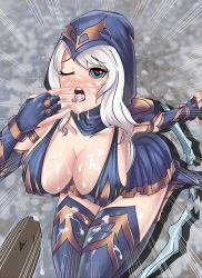 1girl ashe_(league_of_legends) blue_eyes blush bow breasts bukkake cleavage cum cum_in_mouth heart heart-shaped_pupils hood large_breasts league_of_legends long_hair love one_eye_closed open_mouth pleated_skirt sitting skirt solo symbol-shaped_pupils tongue tongue_out white_hair