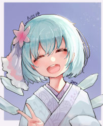 1girl 2017 ^_^ ^o^ absurdres blue_hair bow cirno eyes_closed fairy_wings hair_bow happy_new_year highres ice ice_wings japanese_clothes kimono kiyomasa_ren new_year open_mouth short_hair smile solo touhou v wings