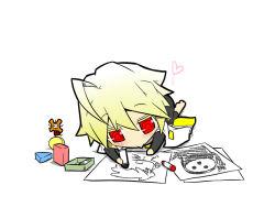 1girl :> :o ahoge arakune blazblue blonde_hair bodysuit cape chibi crayon drawing heart jin_(mugenjin) lambda-11 ragna_the_bloodedge red_eyes