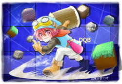 1boy bag boots copyright_name dated dragon_quest_builders gloves goggles goggles_on_head grass hammer hat hero_(dqb) red_eyes red_hair rock solo yaki_sanma
