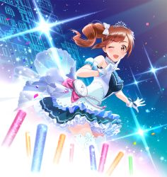 1girl ;) beads bow brown_eyes brown_hair choker confetti dress dutch_angle finger_to_mouth gloves glowstick hair_bow idol idolmaster idolmaster_cinderella_girls igarashi_kyouko jumping_dogeza one_eye_closed open_mouth pocket_watch side_ponytail smile solo sparkle thighhighs tiara watch white_gloves