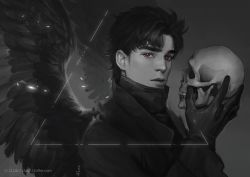 angel_wings coat gloves greyscale holding jojo_no_kimyou_na_bouken jonathan_joestar monochrome realistic red_eyes signature skull spot_color watermark web_address wings zluu