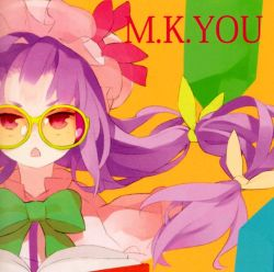 1girl bespectacled book bow bowtie capelet chestnut_mouth glasses hair_bow hair_ornament hat hat_bow highres long_hair looking_at_viewer mob_cap mukyuu open_book open_mouth orange_background patchouli_knowledge purple_hair red_eyes shihou_(g-o-s) simple_background solo text touhou