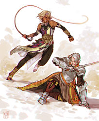 absurdres angry armor armored_boots battle blonde_hair boots brown_eyes chris_lightfellow clenched_teeth duel dutch_angle eyes_closed gensou_suikoden gensou_suikoden_iii highres hurt kneeling knight lucia renzo_gonzalez silver_hair sword teeth torn_clothes weapon whip