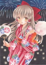 1girl acrylic_paint_(medium) blush bow brown_eyes brown_hair cotton_candy fan fireworks floral_print hair_bow hair_tubes hakurei_reimu highres holding japanese_clothes kimono long_hair long_sleeves looking_at_viewer night night_sky obi open_mouth paper_fan pom77 sash sky solo standing touhou traditional_media uchiwa wide_sleeves yukata