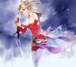 1girl blonde_hair blue_eyes bow breasts cape detached_sleeves dissidia_final_fantasy dress earrings elbow_gloves final_fantasy final_fantasy_vi gloves hair_ribbon jewelry long_hair ponytail ribbon seto_(sepcloud) solo strapless strapless_dress sword tina_branford weapon