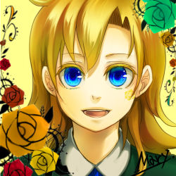 1girl blonde_hair blue_eyes flower gonza_(kimura01) highres ib long_hair mary_(ib) rose smile solo