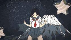 1girl animated animated_gif black_hair flexing kitsu_chiri sayonara_zetsubou_sensei school_uniform volcano what