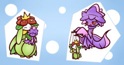 blush convave crown doll fang flower ghost green_hair lilligant mismagius nintendo no_humans open_mouth plant plant_girl pokemon pokemon_(game) puppet red_eyes witch witch_hat yellow_sclera
