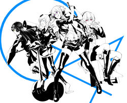 4girls akechi_kokoro alternate_legwear bike_shorts blue_eyes boots bow choker computer drill_hair frills full_body gun hair_ornament handgun hasegawa_hirano headphones high_contrast highres jacket jewelry laptop long_hair megaphone monochrome multiple_girls necklace necktie open_clothes open_jacket open_mouth pink_eyes police police_uniform purple_eyes ribbon robot segway short_hair shorts skirt spot_color staff tantei_opera_milky_holmes thigh_boots thighhighs tooyama_saku twintails uniform very_long_hair weapon white_background yellow_eyes zenigata_tsugiko