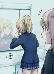 2girls ayase_arisa ayase_eli blazer blonde_hair blue_eyes highres love_live!_school_idol_project multiple_girls open_mouth ponytail school_uniform siblings sisters skirt yukiiti