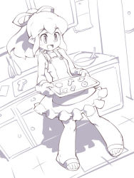 1girl :d blush cookie dress food hair_ribbon kitchen long_hair monochrome open_mouth oven_mitts payot ponytail ribbon rockman rockman_(classic) roll sandals smile solo sundress toufu_yarou tray