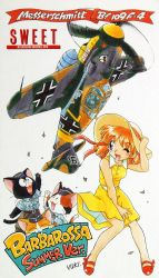 1girl aircraft airplane box_art cat drooling eyebrows_visible_through_hair fujita_yukihisa hat highres history holding holding_hat iron_cross lucky_(sweet) messerschmitt_bf_109 military military_uniform model_kit nasa-chan one_eye_closed red_hair short_hair signature skirt smile swastika sweet_aviation_model_div. twintails uniform waving wind wind_lift world_war_ii