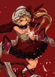 1girl adapted_costume bangs berabou blonde_hair broken_glass cape finger_gun flandre_scarlet frilled_skirt frills glass glass_shards hair_between_eyes hand_up hat hat_ribbon highres kneehighs light_particles long_ponytail looking_at_viewer mob_cap pov red_pupils red_shoes red_skirt ribbon ribbon-trimmed_legwear ribbon_trim serious shirt shoes short_hair side_ponytail skirt sleeveless sleeveless_shirt slit_pupils solo touhou white_legwear white_shirt wings