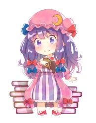 1girl blue_bow blue_ribbon bogyaku_no_m book book_stack bow chibi crescent crescent_hair_ornament dress frilled_hat frills full_body hair_bow hair_ornament hair_ribbon hat hat_ribbon long_hair long_sleeves looking_at_viewer mob_cap no_nose patchouli_knowledge pink_coat pink_hat pink_shoes purple_dress purple_eyes purple_hair red_bow red_ribbon ribbon shoe_bow shoes sidelocks simple_background smile solo striped striped_dress touhou tress_ribbon white_background