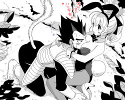 1boy 1girl animal_ears armor between_breasts blurry boots bowtie breast_rest breast_smother breasts breasts_on_head bulma bunny_ears bunny_tail bunnysuit depth_of_field dragon_ball dragon_ball_z dragonball_z fake_animal_ears head_between_breasts high_heels leotard miwa_(m-iwamiwa2014) monochrome pantyhose playboy_bunny_leotard ponytail spiked_hair sweat tail vegeta