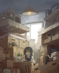 1girl box cardboard_box cat ceiling_light clutter computer dog dr_pepper eating flat_gaze instant_ramen monitor mouse original rice_cooker school_uniform short_hair soda_can solo storage_room teapot yamaada