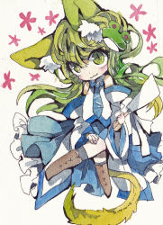 1girl :3 animal_ears blush cat_ears cat_tail detached_sleeves frog gohei green_eyes green_hair hair_ornament highres kochiya_sanae kusuke long_hair smile solo tail touhou traditional_media