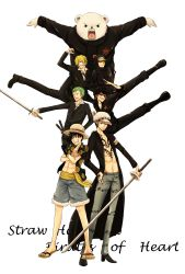 6+boys bear bepo black_hair blonde_hair green_hair hair_over_one_eye hat hawaiian_shirt heart_pirates jeans jumpsuit male_focus monkey_d_luffy multiple_boys one-eyed one_piece open_shirt penguin_(one_piece) red_hair roronoa_zoro sandals sanji sash scar shachi_(one_piece) sword tattoo trafalgar_law
