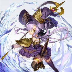 1girl asymmetrical_legwear bow detached_sleeves hair_bow hair_over_one_eye hair_ribbon hat holding long_hair looking_at_viewer nakasaki_hydra original pixiv_fantasia pixiv_fantasia_fallen_kings ponytail purple_hair ribbon solo staff water wide_sleeves witch_hat yellow_eyes