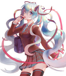 1girl aqua_eyes aqua_hair bag blazer hair_ribbon hatsune_miku long_hair looking_at_viewer necktie open_mouth ribbon school_uniform simple_background skirt solo thighhighs twintails valentine very_long_hair vocaloid white_background
