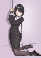 1girl bad_id bad_twitter_id bangs bdsm black_hair black_legwear black_shoes black_skirt blush bondage bound bound_wrists chains closed_mouth eyebrows_visible_through_hair formal hair_ornament hairclip highres kneeling loafers looking_at_viewer minagiku office_lady original pantyhose pencil_skirt purple_background purple_eyes sakuragi_minako shadow shoes short_hair simple_background skirt solo spreader_bar suit sweatdrop