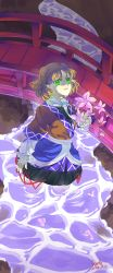 1girl absurdres blonde_hair bridge cowboy_shot dated flower frilled_sleeves frills from_above glowing glowing_eyes green_eyes highres looking_at_viewer mizuhashi_parsee petals ponytail sash scarf short_hair signature skirt solo standing tansuan_zhanshi touhou vest water