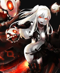 1girl absurdres aircraft_carrier_hime black_background black_serafuku black_skirt breasts cleavage collarbone cowboy_shot dress fang foreshortening glowing glowing_eyes highres horns kantai_collection kokuzoo leaning_forward legs_together long_hair looking_at_viewer medium_breasts navel no_bra one_side_up open_mouth outstretched_arm pale_skin pleated_skirt red_eyes school_uniform serafuku shinkaisei-kan shirt simple_background skirt solo standing torn_clothes torn_shirt torn_skirt veins white_hair white_skin