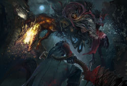 belt blood bloodborne bloody_clothes bloody_weapon cleric_beast cloud flame full_moon gun hat hunter_(bloodborne) monster moon night night_sky open_mouth saw_cleaver sharp_teeth shibafu_no_atama skull sky solo trench_coat vambraces watchdog_of_the_old_lords weapon
