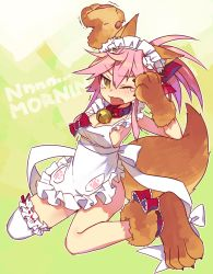 1girl animal_ears apron bell bell_collar bow collar fang fate/grand_order fate_(series) fox_ears fox_tail gloves hair_bow naked_apron one_eye_closed paw_gloves pink_hair ponytail solo tail tamamo_cat_(fate/grand_order) tears ulogbe yawning yellow_eyes