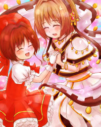 2girls brown_hair card_captor_sakura child creator_connection crossover dress eyes_closed gloves kinomoto_sakura look-alike multiple_girls sakura_hime short_hair tsubasa_chronicle utane. wand wings