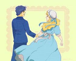 1boy 1girl blonde_hair blue_hair couple dress erina_pendleton hetero jojo_no_kimyou_na_bouken jonathan_joestar maiko818