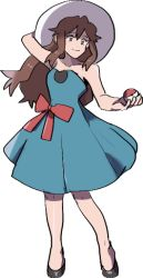 1girl adjusting_clothes adjusting_hat alpha_transparency alternate_costume bare_shoulders blue_(pokemon) brown_eyes brown_hair closed_mouth full_body glasses_enthusiast hat holding holding_poke_ball long_hair older poke_ball pokemon pokemon_(game) pokemon_sm smile sun_hat transparent_background what_if