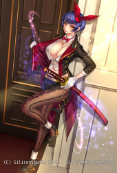 1girl ankle_cuffs anklet bangs black_jacket black_skirt blunt_bangs bow bowtie breasts buttons cleavage coattails company_name crop_top detached_collar door energy eyeshadow full_body gloves gyakushuu_no_fantasica hair_bow high_heels highres indoors jacket jewelry katana large_breasts looking_at_viewer looking_to_the_side magic makeup mascara midriff miniskirt navel necklace open_clothes open_jacket pantyhose purple_hair red_bow red_bowtie red_eyes ryuki@maguro-ex scabbard sheath sheathed side_slit skirt smile solo sparkle standing standing_on_one_leg sword watermark weapon white_gloves