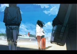 1girl aircraft airplane bag black_hair blue_sky cloud coat day denim from_behind full_body handbag highres inami_hatoko jeans jet legs_together long_hair long_sleeves luggage outdoors pants rolling_suitcase sailor_collar shirt skirt sky standing suitcase white_shirt white_skirt wind wind_lift