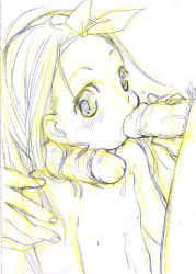 blush cum cum_in_mouth cum_on_body cum_on_upper_body fellatio hair_ribbon hairjob handjob loli massiro monochrome oral penis penis_on_shoulder penis_touching_face ribbon sketch toddlercon
