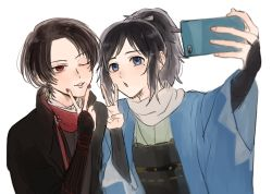 2boys black_hair blue_eyes bridal_gauntlets brown_hair cellphone haori japanese_clothes kashuu_kiyomitsu male_focus mole mole_under_eye mole_under_mouth multiple_boys nail_polish one_eye_closed phone ponytail red_eyes red_nails scarf self_shot shinsengumi smartphone smile touken_ranbu v yamato-no-kami_yasusada zy_(dondokodo-mu)