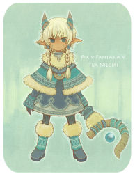 1girl arms_at_sides blue_eyes boots braid character_name commentary_request copyright_name ear_piercing elf fur fur_boots gloves goat_eyes hair_tubes highres horns looking_to_the_side piercing pixiv_fantasia pointy_ears satsumai solo standing tagme twin_braids weapon white_hair