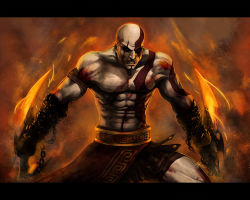 1boy bald beard blade blood chains epic fire god_of_war kratos male_focus manly mythology pale_skin pteruges scar shirtless solo spartan sword tattoo weapon