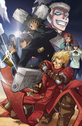 2girls 3boys black_hair blonde_hair blue_eyes blue_hair boots brown_hair cloakcoat cross desert dutch_angle earrings glasses gun highres huge_weapon jacket jewelry long_coat looking_back meryl_strife meryl_stryfe milly_thompson mouth_hold multicolored_hair multiple_boys multiple_girls necktie nicholas_d_wolfwood on_ground outdoors purple_eyes purple_hair red_jacket scan short_hair sky smile spiked_hair standing strap suit trigun vash_the_stampede weapon