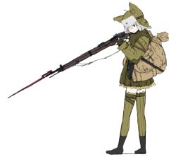 1girl animal_hat backpack bag coh dress fingerless_gloves gloves green_dress green_gloves green_legwear gun hat holding long_sleeves mars_expedition military military_uniform rifle short_hair silver_eyes silver_hair simple_background solo soviet standing star strap thighhighs uniform weapon weapon_request white_background zettai_ryouiki