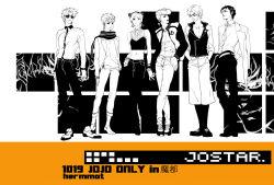 1girl 5boys contemporary family giorno_giovanna higashikata_jousuke highres joestar_birthmark jojo_no_kimyou_na_bouken jonathan_joestar joseph_joestar_(young) kurumi_(recycllamo) kuujou_jolyne kuujou_joutarou letterman_jacket multiple_boys scarf sunglasses