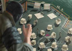 big_boss box cardboard_box kazuhira_miller metal_gear_(series) metal_gear_solid_v sea soldiers